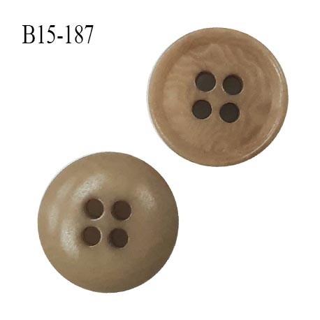 Bouton 15 mm haut de gamme couleur beige marbré 4 trous diamètre 15 mm épaisseur 4 mm prix à l'unité