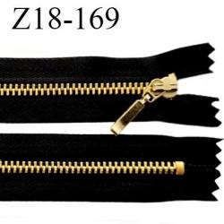 Fermeture 18 cm zip métal couleur noir et or non séparable longueur 18 cm largeur 2.8 cm glissière métal doré largeur 4.5 mm