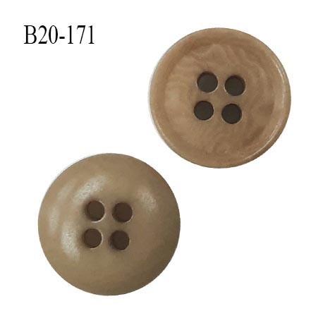 Bouton 20 mm haut de gamme couleur beige marbré 4 trous diamètre 20 mm épaisseur 4.5 mm prix à l'unité
