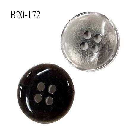 Bouton 20 mm haut de gamme couleur gris nacré 4 trous diamètre 20 mm épaisseur 4 mm prix à l'unité