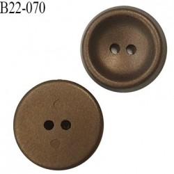 Bouton 22 mm forme concave couleur bronze 2 trous diamètre 22 mm épaisseur 6 mm prix à l'unité