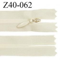 Fermeture zip invisible 40 cm couleur écru non séparable avec glissière nylon largeur 2.5 cm largeur de la glissière 5 mm