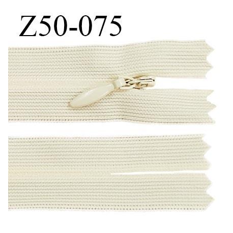 Fermeture zip 50 cm couleur écru non séparable avec glissière nylon largeur 2.5 cm largeur de la glissière 5 mm prix à l'unité