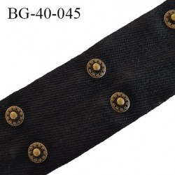 Galon rivet 42 mm en coton sergé noir largeur 42 mm avec 2 rivets en métal couleur laiton bronze tous les 5 cm prix au mètre