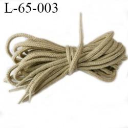 Lacet rond 65 cm couleur beige kaki fabrication Europe diamètre 4 mm longueur 65 cm embout gainé prix pour une paire