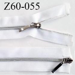 Fermeture zip 48 cm double curseur couleur blanc séparable largeur 3 cm zip métal largeur du zip 5 mm prix à l'unité