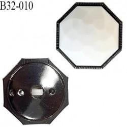 Bouton 33 mm forme octogonale dôme taillé couleur blanc et gris diamètre 33 mm épaisseur 12 mm prix à l'unité