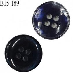 Bouton 15 mm couleur bleu nuit avec reflets nacré gris 4 trous diamètre 15 mm épaisseur 3 mm prix à l'unité