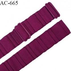 Bretelle 20 mm lingerie SG haut de gamme grande marque couleur violine 2 barrettes largeur 20 mm longueur 33 cm prix à la pièce