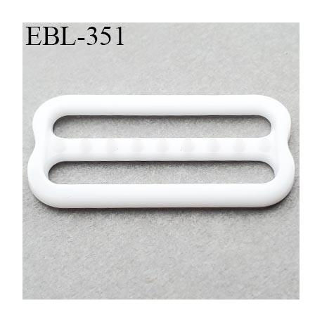 réglette 25 mm réglage de bretelle soutien gorge pvc blanc avec picot pour bloquer la bretelle largeur intérieur 25 mm