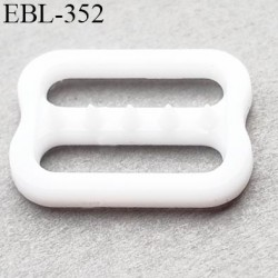réglette 15 mm réglage de bretelle soutien gorge pvc blanc avec picot pour bloquer la bretelle largeur intérieur 15 mm