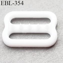 Réglette 10 mm réglage de bretelle soutien gorge pvc blanc avec picot pour bloquer la bretelle largeur intérieur 10 mm