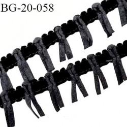 Galon ruban à franges style daim largeur 20 mm très doux couleur noir et gris le mètre