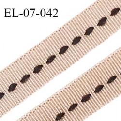 Elastique 7 mm lingerie haut de gamme couleur dune satiné avec couture noire au centre largueur 7 mm prix au mètre