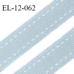 Elastique 12 mm lingerie haut de gamme couleur bleu ciel satiné avec surpiqure blanche largeur 12 mm prix au mètre