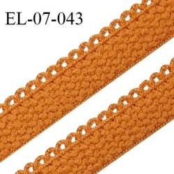 Elastique lingerie picot 7 mm + 2 mm picot couleur jaune ocre grande marque fabriqué en France largeur 7 mm + 2  prix au mètre