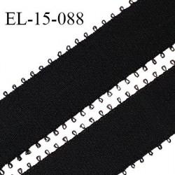 Elastique picots 15 mm couleur noir brillant haut de gamme polyamide élasthanne superbe largeur 15 mm prix au mètre