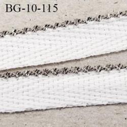 Galon ruban 10 mm haut de gamme en coton sergé blanc et liseré métal style diamant prix au mètre