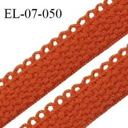 Elastique lingerie picot 7 mm + 2 mm picot couleur orange safran grande marque fabriqué en France largeur 7 mm + 2 prix au mètre
