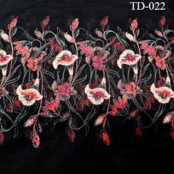 Dentelle broderie sur tulle 35 cm  très haut de gamme couleur noir et fleurs très belle largeur 35 cm  prix pour 10 cm