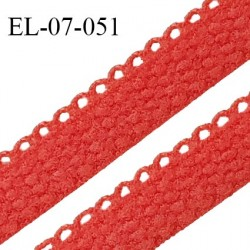 Elastique lingerie picot 7 mm + 2 mm picot couleur rose vitamine grande marque fabriqué en France largeur 7 mm + 2 prix au mètre