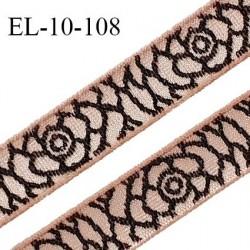 Elastique 10 mm lingerie haut de gamme couleur beige rosé et motif de roses noires Fabrication française prix au mètre