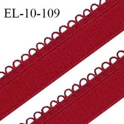 Elastique 10 mm lingerie haut de gamme couleur rouge intense fabriqué en France largeur 10 mm + 2 mm picots prix au mètre