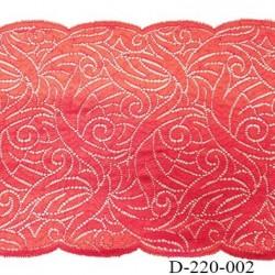 Dentelle 22 cm lycra brodé  très haut de gamme largeur 22 centimètres couleur rouge garance très belle prix au mètre