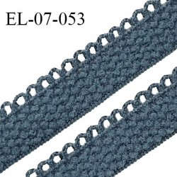 Elastique lingerie 7 mm + 2 mm picots couleur bleu tempête grande marque fabriqué en France largeur 7 mm + 2 prix au mètre