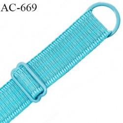 Bretelle lingerie 16 mm haut  gamme turquoise lagon avec 1 barrette + 1 anneau métal thermolaqué longueur 43 cm prix à l'unité
