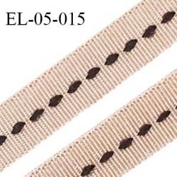Elastique 5 mm lingerie haut de gamme fabriqué en France couleur dune satiné avec surpiqure noire au centre prix au mètre