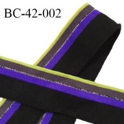 Bord-Côte 42 mm jersey maille synthétique couleur noir violet vert fluo et argenté largeur 42 mm longueur 60 cm prix à la pièce