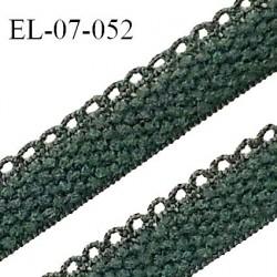 Elastique lingerie picot 7 mm + 2 mm picot couleur vert story grande marque fabriqué en France largeur 7 mm + 2 prix au mètre