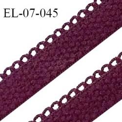 Elastique lingerie picot 7 mm + 2 mm picot couleur prune grande marque fabriqué en France largeur 7 mm + 2 prix au mètre