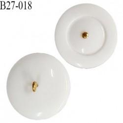 Bouton 27 mm couleur blanc en pvc accroche avec un anneau doré diamètre 27 mm épaisseur 6 mm prix à la pièce