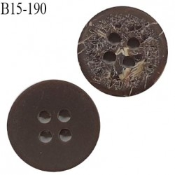 Bouton 15 mm 4 trous couleur marron effet bois de coco diamètre 15 mm épaisseur 2.9 mm prix à l'unité