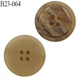 Bouton 23 mm 4 trous couleur beige effet corne diamètre 23 mm épaisseur 5.8 mm prix à l'unité