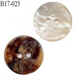 Bouton 17 mm en nacre 2 trous diamètre 17 mm épaisseur 1.7 mm prix à l'unité