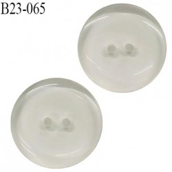 Bouton 23 mm transparent 2 trous diamètre 23 mm épaisseur 3.7 mm prix à l'unité
