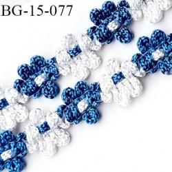 Galon ruban 15 mm à fleurs brodées superbe couleur bleu et blanc lumineux diamètre des fleurs 15 mm prix au mètre
