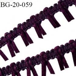 Galon ruban à franges style daim largeur 20 mm très doux couleur prune et gris le mètre