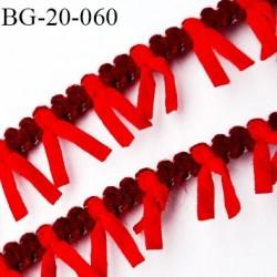 Galon ruban à franges style daim largeur 20 mm très doux couleur bordeaux et rouge le mètre