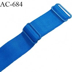 Bretelle 25 mm lingerie SG haut de gamme grande marque couleur bleu royal 2 barrettes longueur 32 cm prix à la pièce