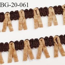 Galon ruban à franges style daim largeur 20 mm très doux couleur marron et beige le mètre