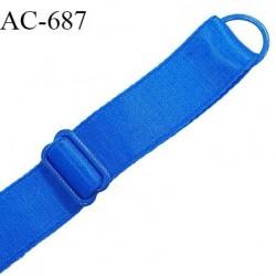 Bretelle lingerie SG 20 mm très haut de gamme couleur bleu royal satiné 1 barrette + 1 anneau longueur 38 cm prix à l'unité
