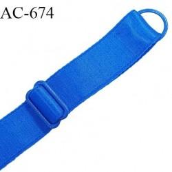 Bretelle lingerie SG 16 mm très haut de gamme couleur bleu royal satiné 1 barrette + 1 anneau largeur 16 mm prix à l'unité