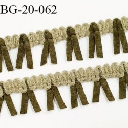 Galon ruban à franges style daim largeur 20 mm très doux couleur vert et kaki  le mètre