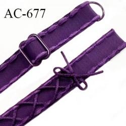 Bretelle lingerie SG 16 mm très haut de gamme couleur chianti aubergine laçage  1 barrette + 1 anneau prix à l'unité