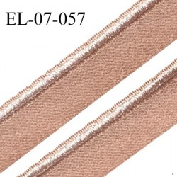 Elastique 7 mm lingerie haut de gamme fabriqué en France élastique souple couleur beige rosé avec liseré brillant prix au mètre