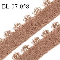 Elastique 7 mm lingerie haut de gamme fabriqué en France couleur praline largeur 7 mm + picots 3 mm prix au mètre